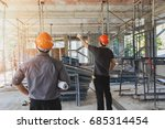 engineer discussing with... | Shutterstock . vector #685314454