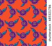 floral hand drawn vintage... | Shutterstock .eps vector #685321786