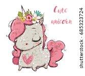 cute cartoon unicorn | Shutterstock .eps vector #685323724