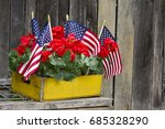 American Flags And Red...