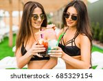 two beautiful women enjoying... | Shutterstock . vector #685329154