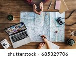 travel trip map direction... | Shutterstock . vector #685329706