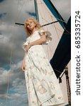 beautiful model on a yacht... | Shutterstock . vector #685335724