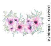 watercolor hand painted flower... | Shutterstock . vector #685344964