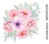 watercolor hand painted flower... | Shutterstock . vector #685345108