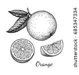 orange set. isolated on white... | Shutterstock .eps vector #685347334