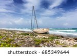 Shipwrecked Sailing Boat On Th...