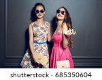cheerful beautiful young women...   Shutterstock . vector #685350604
