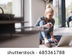real woman using laptop at home ... | Shutterstock . vector #685361788