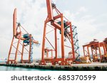 industrial dock with loading... | Shutterstock . vector #685370599