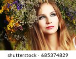 beautiful blonde girl with a... | Shutterstock . vector #685374829