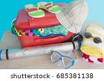 suitcase with things for... | Shutterstock . vector #685381138