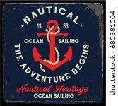 vintage nautical graphics and... | Shutterstock .eps vector #685381504