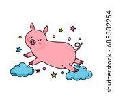 a funny pig character jumps