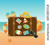 travel suitcase with a summer... | Shutterstock .eps vector #685385518