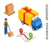 delivery cargo with map and... | Shutterstock .eps vector #685402924