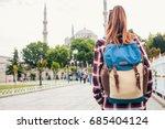 young beautiful girl traveler... | Shutterstock . vector #685404124