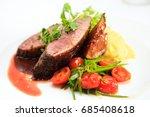 glazed duck fillet  mashed... | Shutterstock . vector #685408618