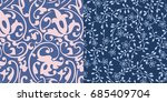set of two repeat seamless... | Shutterstock .eps vector #685409704