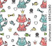 pet shop vector background.... | Shutterstock .eps vector #685412680