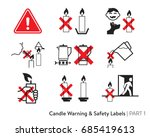 candle safety sticker. labeling ... | Shutterstock .eps vector #685419613