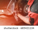 car lifted in automobile... | Shutterstock . vector #685421134