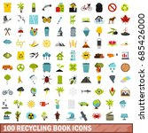 100 recycling book icons set in ... | Shutterstock .eps vector #685426000