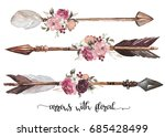 watercolor ethnic boho set of... | Shutterstock . vector #685428499