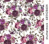 watercolor floral pattern on... | Shutterstock . vector #685428604
