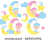 baby on the moon vector... | Shutterstock .eps vector #685453396