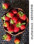 strawberries in a wood bowl | Shutterstock . vector #685456948