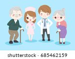 doctor with old couple on the... | Shutterstock . vector #685462159