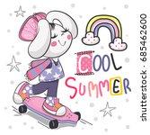 cartoon cute lovely bunny girl... | Shutterstock .eps vector #685462600