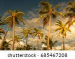 tropical sky and palm trees by... | Shutterstock . vector #685467208
