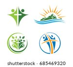 church logo. christian symbols... | Shutterstock .eps vector #685469320