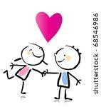Valentines Day Cartoon Romantic People Love Stock Vector Royalty