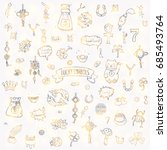 hand drawn doodle lucky symbols ... | Shutterstock .eps vector #685493764