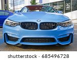 Small photo of GLENDALE/CALIFORNIA - JULY 15, 2017: Late model BMW sedan on display at a gathering of classic car owners in Glendale, California, USA