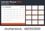 calendar 2018 starts monday ... | Shutterstock .eps vector #685502830