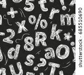 retro hand drawn alphabet... | Shutterstock .eps vector #685510690
