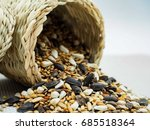 dried grains bird food  black... | Shutterstock . vector #685518364