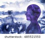 human head  chakra power ... | Shutterstock . vector #685521553