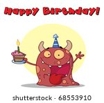 happy birthday text above a... | Shutterstock . vector #68553910