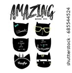 amazing cats illustration | Shutterstock .eps vector #685544524