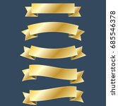 set of gold ribbon banner with... | Shutterstock .eps vector #685546378