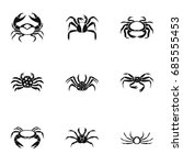 different crab icons set.... | Shutterstock .eps vector #685555453