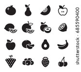 fruit icons set. black on a...   Shutterstock .eps vector #685590400