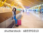 woman waiting her flight using... | Shutterstock . vector #685593313