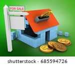 3d illustration of block house... | Shutterstock . vector #685594726