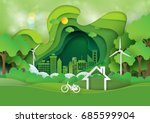 green abstract background... | Shutterstock .eps vector #685599904